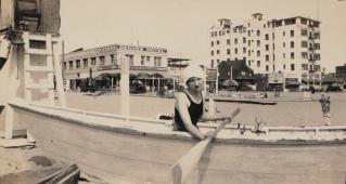 Bathing beauty in front of Denver Hotel, 1927