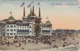 Bath House and wood houses, around 1908